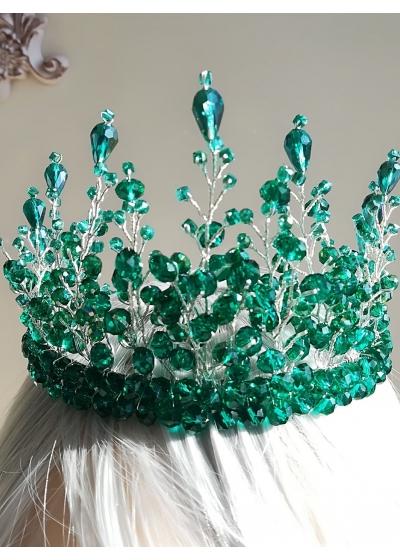 Дизайнерска корона за коса с кристали Сваровски в изумрудено зелено Queen of Emeralds by Rosie
