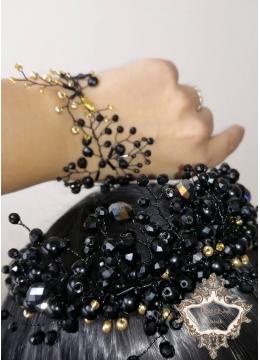 Комплект уникална корона и гривна в черно и златно Black Roses by Rosie Concept