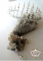 Уникален комплект кристална корона и висящи обици серия Queen of Atlantis by Rosie Concept