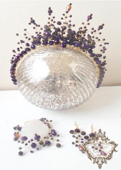 Дизайнерски комплекти корона и бижута от перли и кристали