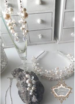 Комплект сватбена корона, колие и обици с перли и кристали Сваровски серия Ivory Dream