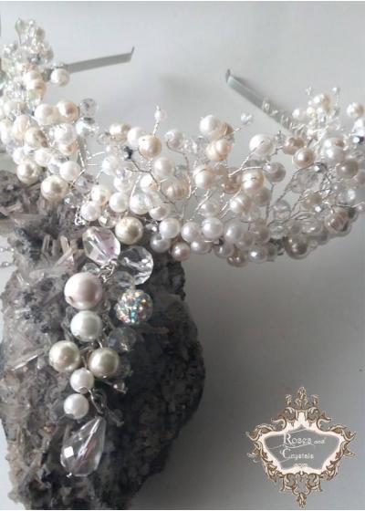 Тиара и колие за булка от перли и кристали серия Ivory Dream