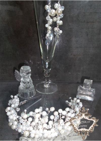 Корона за булка комплект с дизайнерски обици от перли и кристали серия Ivory Dream