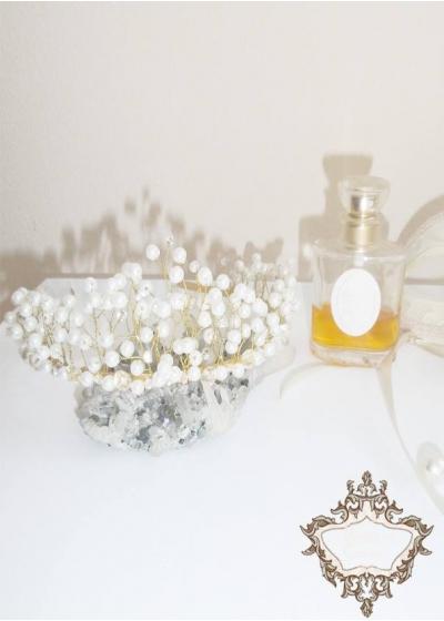 Нежна Дизайнерска булчинка корона с перли в златно Gold and Ivory Dream