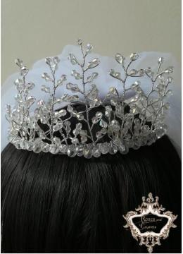 Булчински Комплект от уникална дизайнерска кристална корона и воал Angel Touch