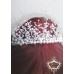Нежна булчинска дизайнерска корона с перли и кристали White Queen