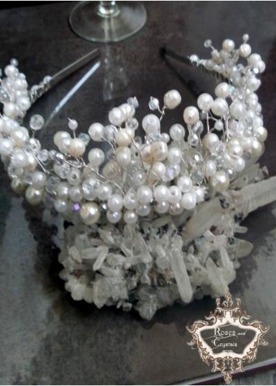 Красива тиара за булка с перли и кристали Ivory Dream
