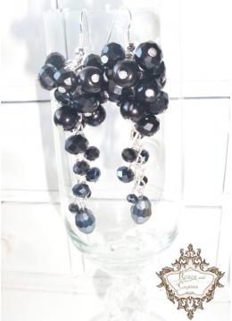 Уникални дълги дизайнерски обици с черни кристали серия Black Flowers