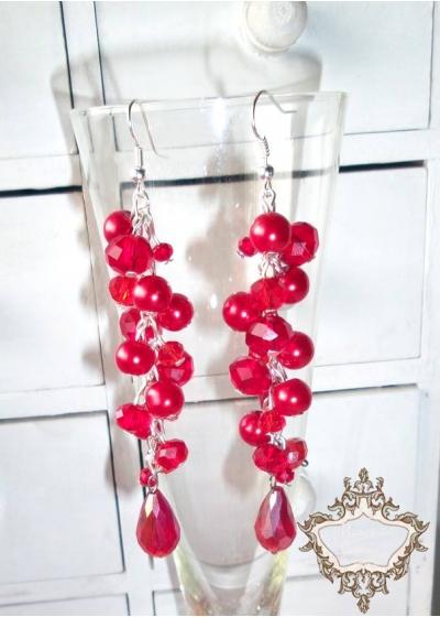 Ефектни дълги дизайнерски кристални обици с червени кристали серия Flowers of Fire