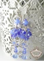 Нежни дълги дизайнерски обици светлосини кристали серия Heavenly Flowers