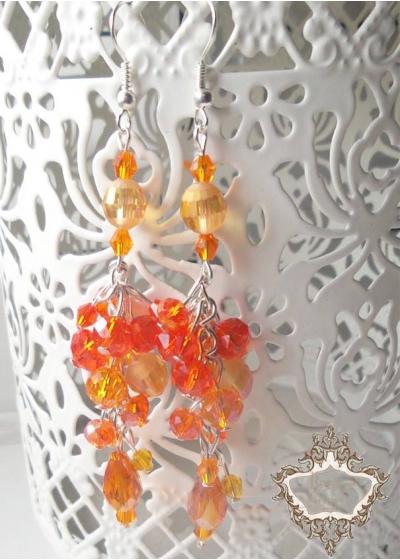 Красиви висящи дизайнерски обици с оранжеви кристали серия Orange Flowers