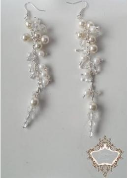 Дизайнерски обици за булка от перли и кристали Pearl Infinity
