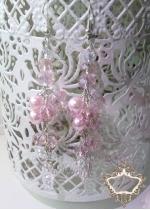 Нежни дълги дизайнерски обици с розови перли и кристали серия Rose Flowers