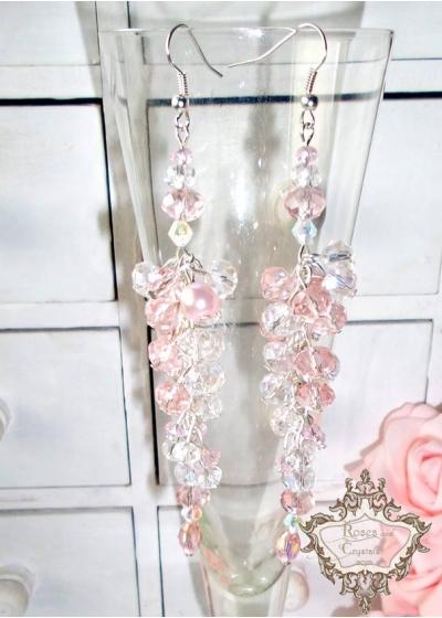 Дълги кристални дизайнерски обици в розово Rose Kiss By Rosie