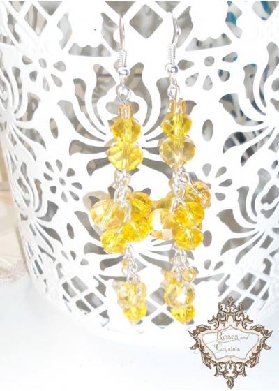 Модерни дълги дизайнерски обици с жълти кристали серия Sun Flowers