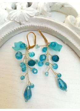 Ефектни обици от кристали в цвят тюркоаз от серия Turquoise Spell by Rosie