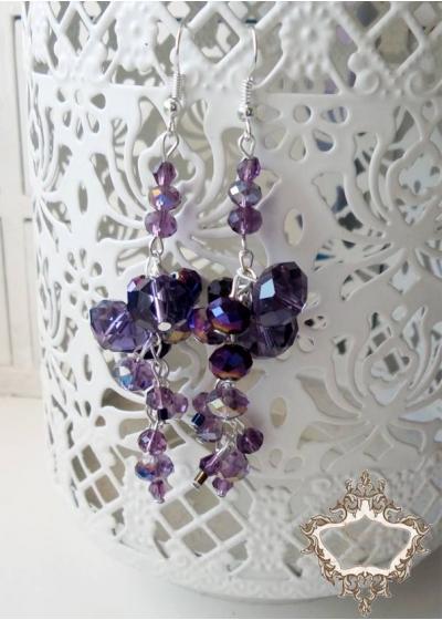 Елегантни дизайнерски дълги обици серия Violet Flowers