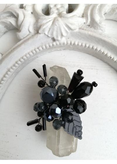 Дизайнерски пръстен с черни кристали Сваровски модел Absolute Black Rose by Rosie
