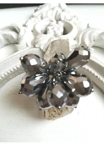 Ръчно изработен пръстен с кристали цвят графит модел Dark Sparks by Rosie