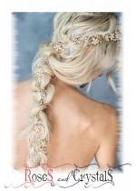 Дизайнерски украси за дълга коса с цветни кристали и перли Hair Vine