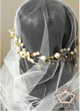Комплект воал за булка и дизайнерска диадема в слонова кост и златно Gardenia Gold by Rosie