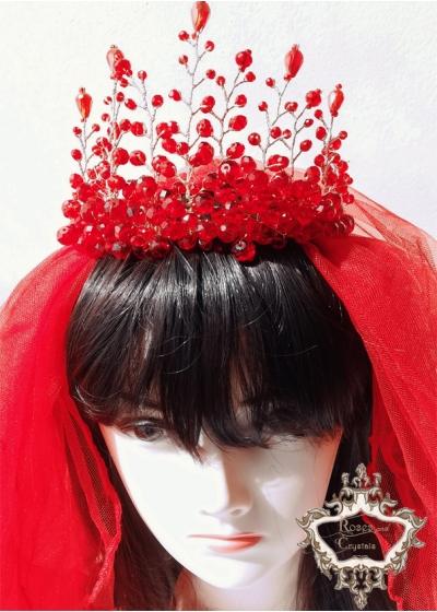 Червен сватбен воал модел Megan